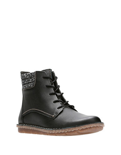 Clarks Tamitha Rose Leather Lace-Up Boots-BLACK-7.5