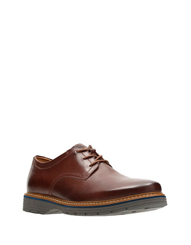 Clarks Newkirk Plain Derbys-BROWN-10.5