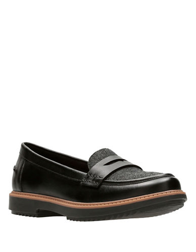 Clarks Raisie Eletta Penny Loafers-BLACK TWEED-7.5