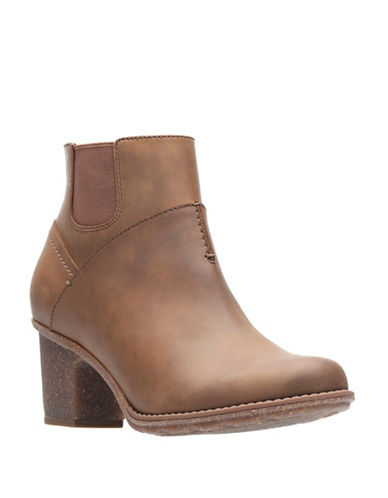 Clarks Sashlin Vita Leather Booties-DARK TAN-12