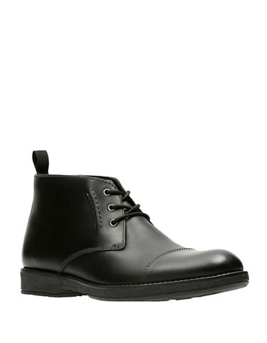 Clarks Hinman Leather Mid Chukka Boots-BLACK-9.5