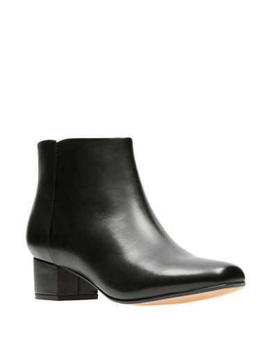 Clarks Chartli Lilac Leather Booties-BLACK-6.5