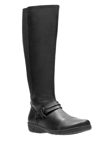 Clarks Leather Knee-High Boots-BLACK-7.5