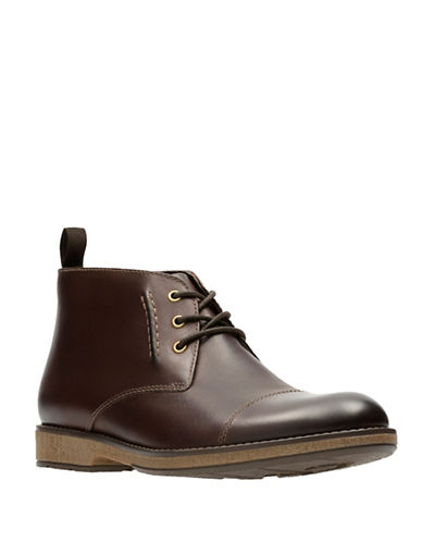 Clarks Hinman Leather Mid Chukka Boots-BROWN-10