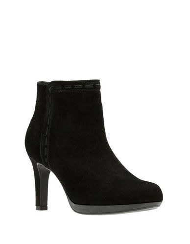 Clarks Adriel Sadie Leather Booties-BLACK SUEDE-9.5