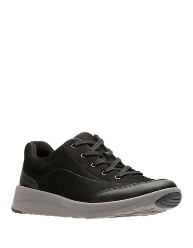 Clarks Darleigh Cora Leather Low Top Sneakers-BLACK-7.5
