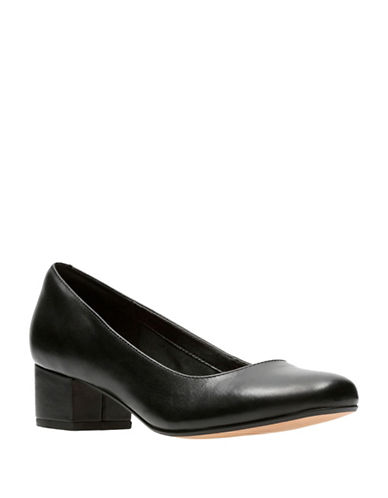 Clarks Polished Leather Pumps-BLACK-5