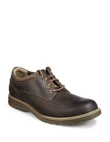 Clarks Vossen Plain Leather Shoes-BROWN-10.5