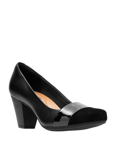Clarks Leather Block Heels-BLACK-7.5