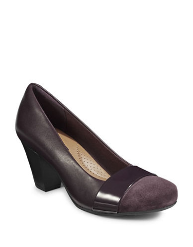 Clarks Combo Round-Toe Pumps-PURPLE-6