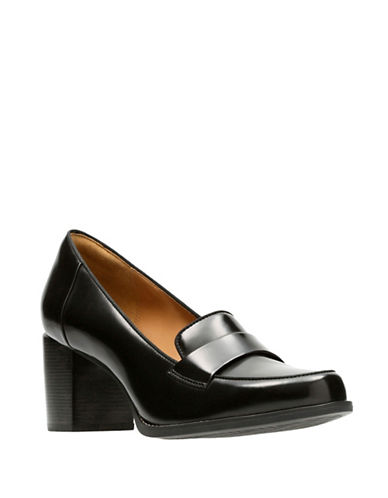 Clarks Artisan Loafer Style Leather Pumps-BLACK-7.5