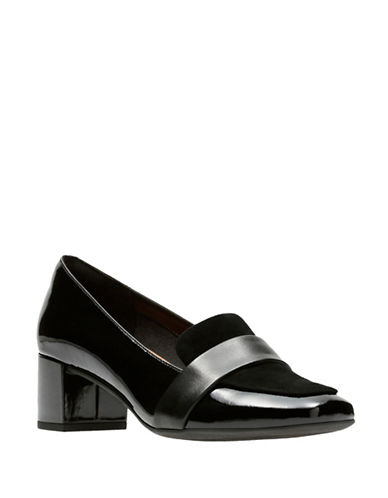 Clarks Artisan Tealia Elva Slip-On Block Heel Pumps-BLACK MULTI-10