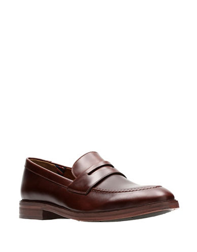 Bostonian Mckewen Step Leather Penny Loafers-BROWN-10.5