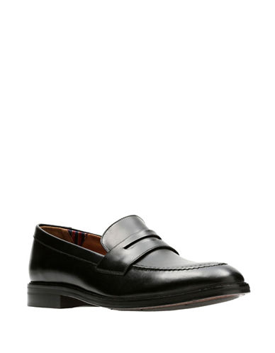 Bostonian Mckewen Step Leather Penny Loafers-BLACK-12