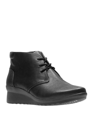 Cloudsteppers By Clarks Leather Wedge Booties-BLACK-9.5