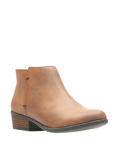 Clarks Addiy Zora Leather Booties-TAN-7.5