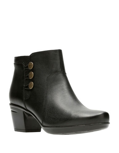 Clarks Buttoned Leather Booties-BLACK-7.5
