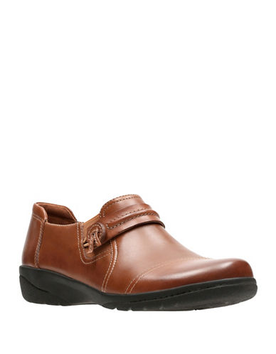 Clarks Cheyn Madi Leather Slip-On Shoes-DARK TAN-8.5