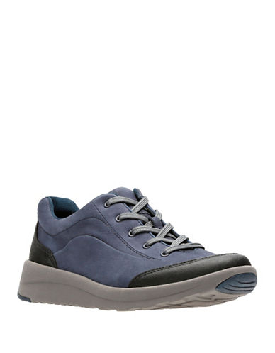 Clarks Darleigh Cora Leather Low Top Sneakers-NAVY-6.5