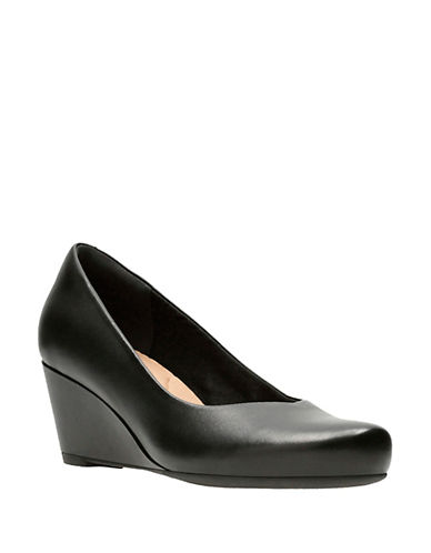 Clarks Flores Tulip Leather Wedges-BLACK-6.5