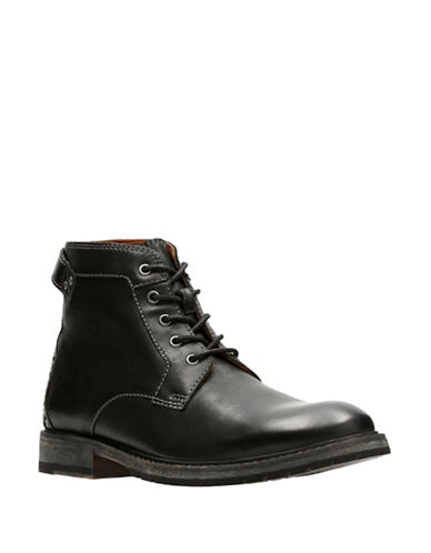 Clarks Clarkdale Bud Leather Boots-BLACK-10.5