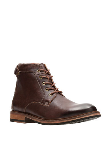 Clarks Clarkdale Bud Leather Boots-BROWN-9.5