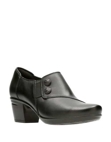 Clarks Emslie Vendel Leather Booties-BLACK-9