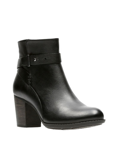 Clarks Enfield Sari Leather Ankle Boots-BLACK-6.5