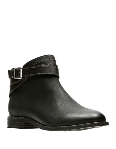 Clarks Artisan Maypearl Edie Leather Booties-BLACK-6
