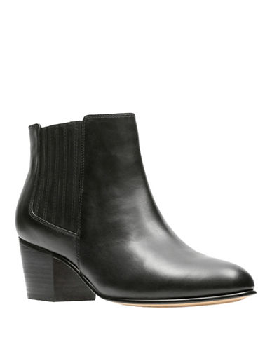 Clarks Artisan Block Heel Leather Boots-BLACK-7.5