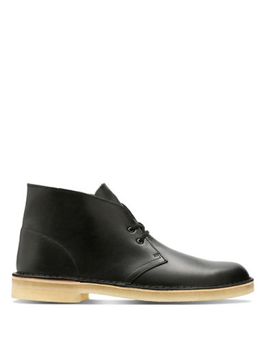 Clarks Originals Casual Leather Chukka Boots-BLACK-8.5