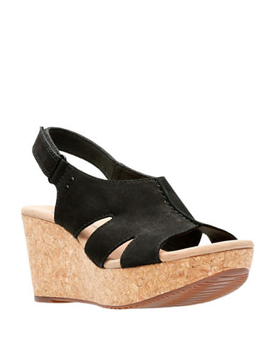 Clarks Annadel Bari Leather Wedge Sandals-BLACK-7.5