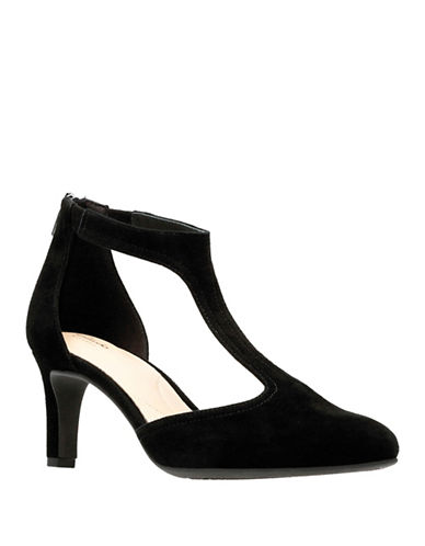 Clarks Artisan Calla Lily T-Strap D Orsay Pumps-BLACK-8.5