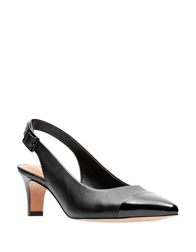Clarks Leather Slingback Heel-BLACK-6.5