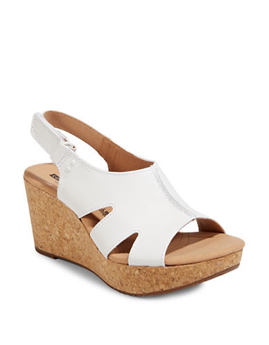 Clarks Annadel Bari Leather Wedge Sandals-WHITE-7.5