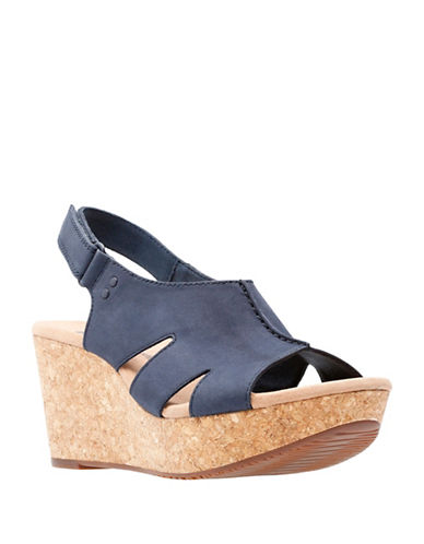 Clarks Annadel Bari Leather Wedge Sandals-NAVY-7.5