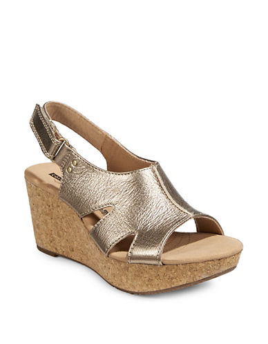 Clarks Annadel Bari Leather Wedge Sandals-GOLD-10