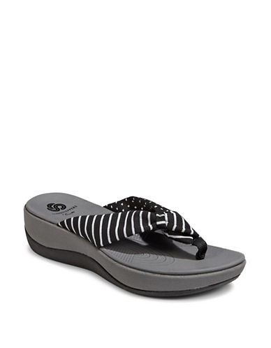 Cloudsteppers By Clarks CushionSoft Cloudsteppers Arla Glison Flip Flops-BLACK STRIPE-8
