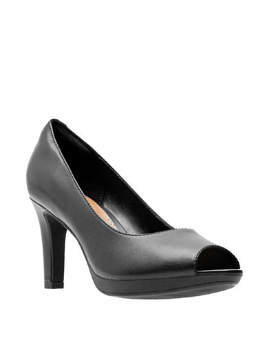 Clarks Adriel Phyliss Peep-Toe Pumps-BLACK-9.5
