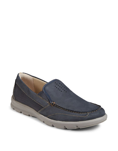 Clarks Jarwin Leather Slip-On Shoes-NAVY-8