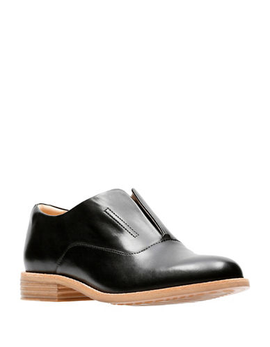 Clarks Artisan Endvale Opal Slip-On Oxfords-BLACK-7.5
