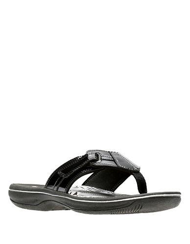 Clarks Brinkley Bree Flip Flops-BLACK PATENT-8