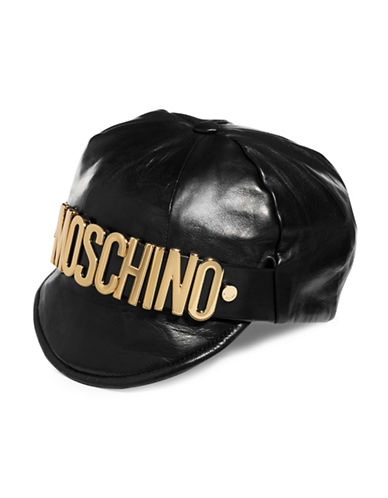 Moschino Metal Logo Leather Hat-BLACK-Small
