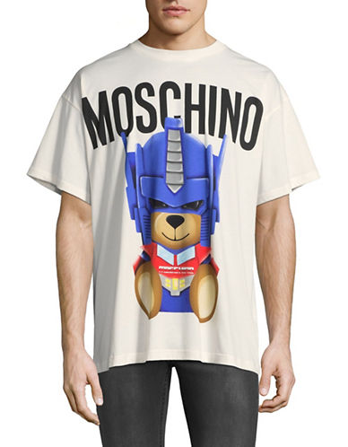Moschino Transformers Teddy Graphic Tee-WHITE-EU 52/X-Large
