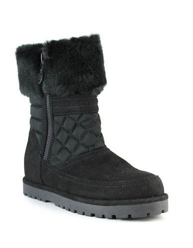 Guess Fridda Faux Fur Collar Boots-BLACK-10