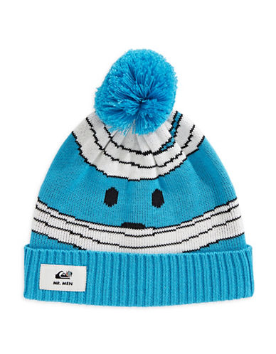 Quiksilver Striped Pom-Pom Beanie-BLUE-One Size