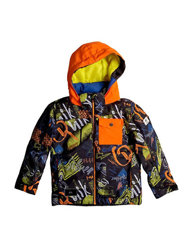Quiksilver Printed Waterproof Hooded Jacket-ORANGE-6-7