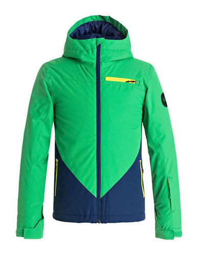 Quiksilver Suit Up Youth Waterproof Hooded Jacket-GREEN-Small
