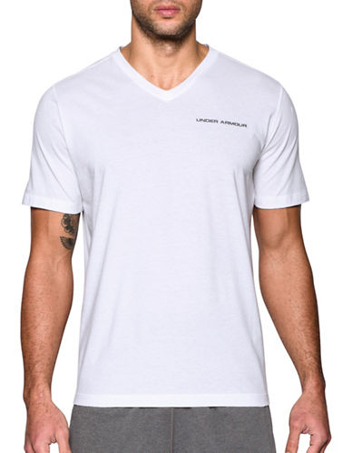 Under Armour Charged Cotton V-Neck Tee-WHITE-Large 89183121_WHITE_Large