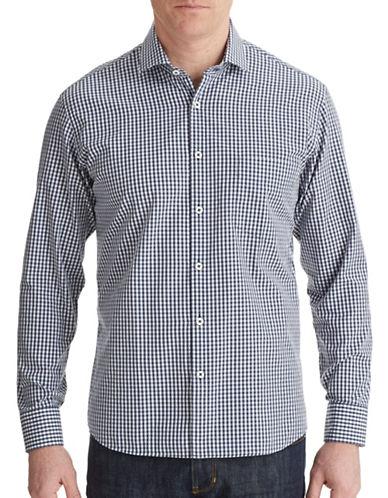 Billy Reid John Gingham Sport Shirt-NAVY-Small